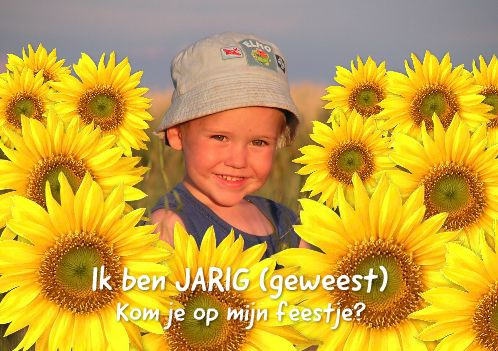 uitnodiging met zonnebloem versieringen/ invitation with picture and added sunflowers