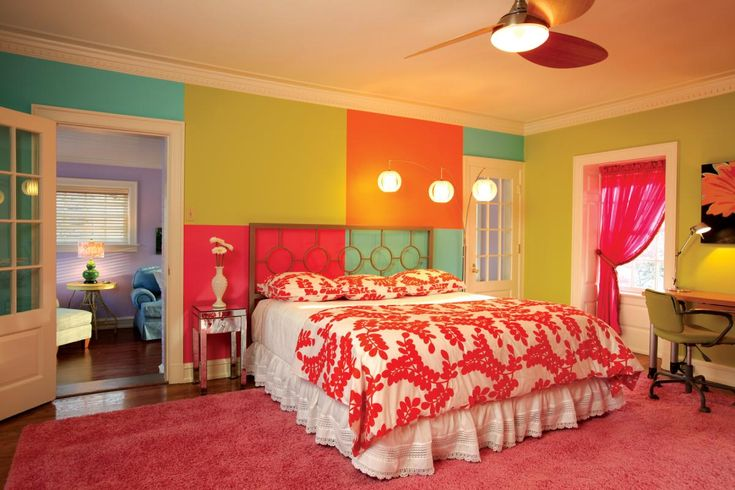 this split complementary room is great for a young girl