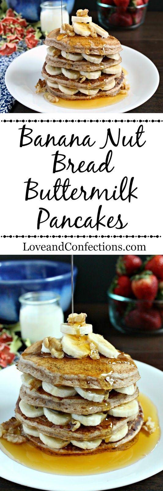 Banana Nut Bread Buttermilk Pancakes from LoveandConfections.com #BrunchWeek #sponsored with @dixiecrystals
