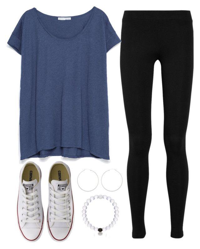 #summer #outfits / Blue Tee + Black Leggins