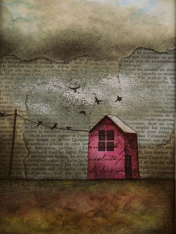 """""""House blues I"""" - Techniques mixtes : collages de vieux papiers, aquarelle, acrylique, fusain, pastels, pierre noire - Dimensions : 15 cm x 20 cm - © Géraldine Theurot - www.geraldinetheurot.canalblog.com"""