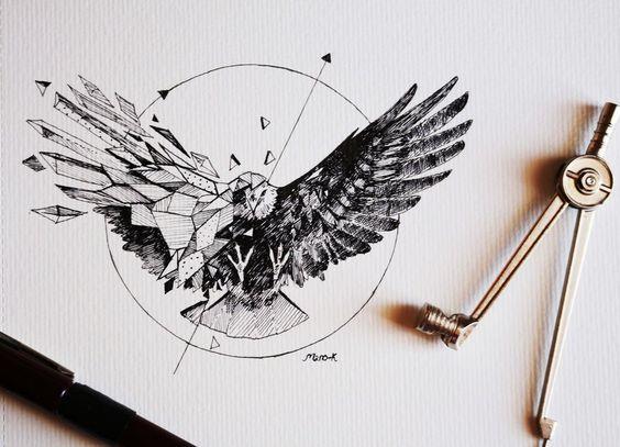 Black-half-geometric eagle in circle tattoo design