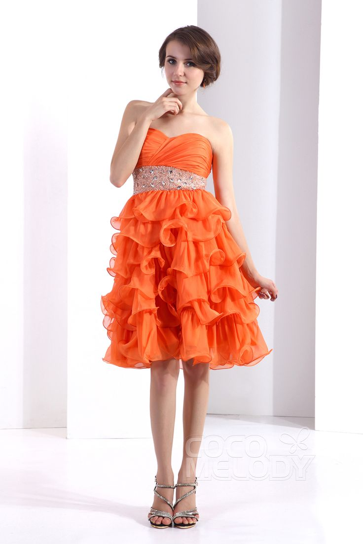 Chic+A-Line+Sweetheart+Knee+Length+Chiffon+Orange+Party+Dress+COZK13014