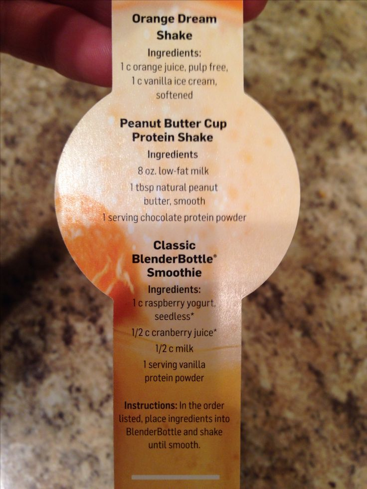 Blender bottle recipes: Orange Dream Shake, Peanut Butter Cup Protein Shake, & Classic Smoothie.