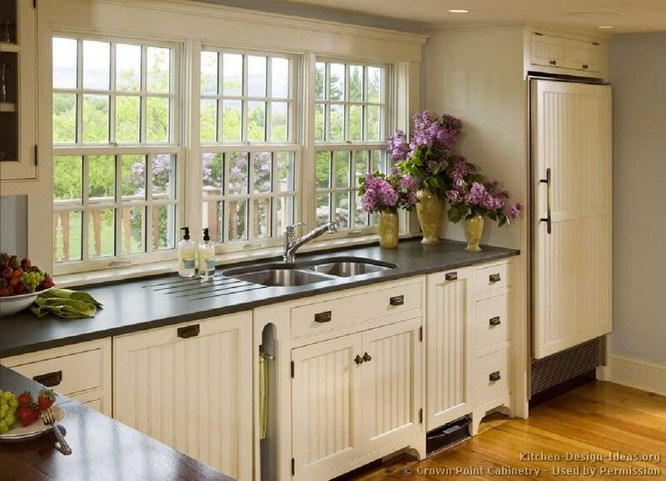"""I love the windows instead of upper cabinets. How to Add """"Old House"""" Character & Charm to Your Newer Home {Step 5}   Beneath My Heart"""