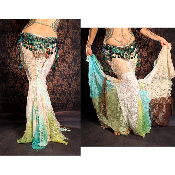 Long Flowing Mermaid Skirt gorgeous lace patchwork by CrudeThings