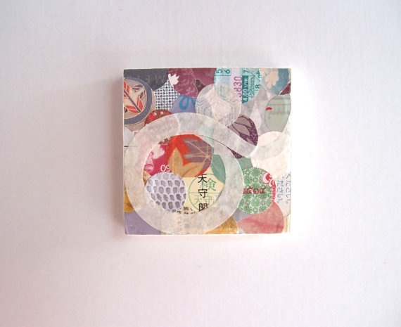 Oriental little mixed media collage art - dream dance 4 by Rie Mandala, Japanese kimono, rice paper