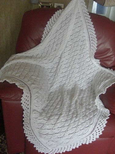 Brand new hand knitted 4 ply white baby christening shawl
