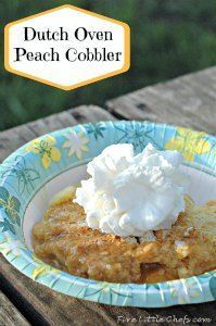 Dutch Oven Peach Cobbler by fivelittlechefs.com -very simple & delicious. Easy enough kids can help prepare.