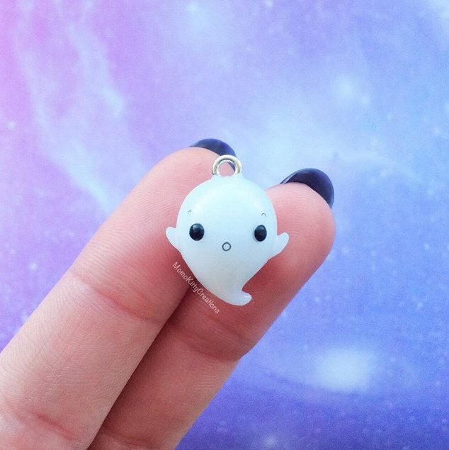 Creepy Cute Ghost Polymer Clay Charm by MomoKittyCreations on Etsy https://www.etsy.com/listing/223814178/creepy-cute-ghost-polymer-clay-charm