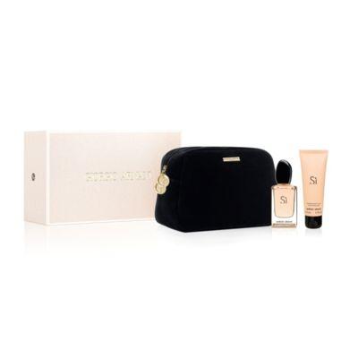 Coffret #SI Eau de #Parfum  #GiorgioArmani  Ce Coffret est composé de : vaporisateur 100ml + Lait pour le corps 75ml + Trousse
