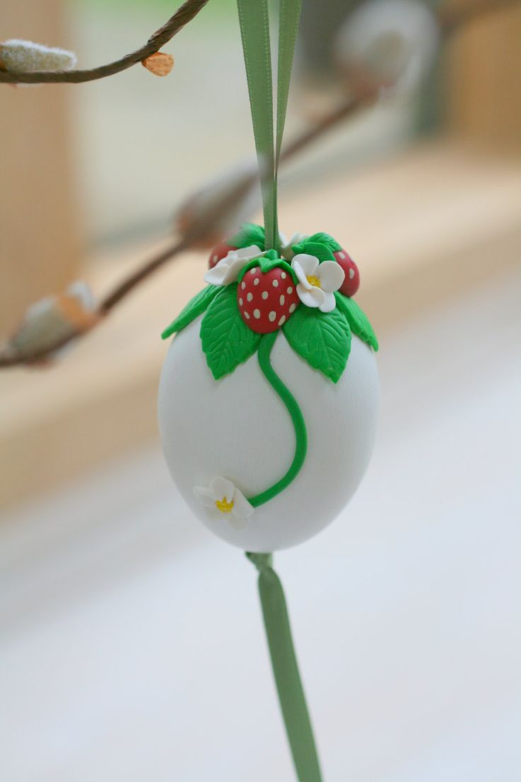Easter Tree Ornament, Egg Decorations, Easter Decorations, Spring Decorations, Spring, Blossoms, Strawberry Decorations by EggOnTop on Etsy