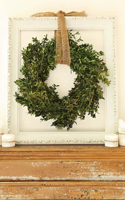 cream boxwood wreath, burlap, and vintage frame