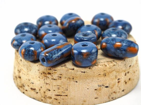 Handmade pottery beads for summer necklace! #etsy #ceramics #pottery #necklace #etsystore #beads #handmade