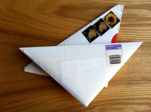 Apparently, if you fold your mail this way the stamp is never post-marked, you can mail on the same stamp indefinitly