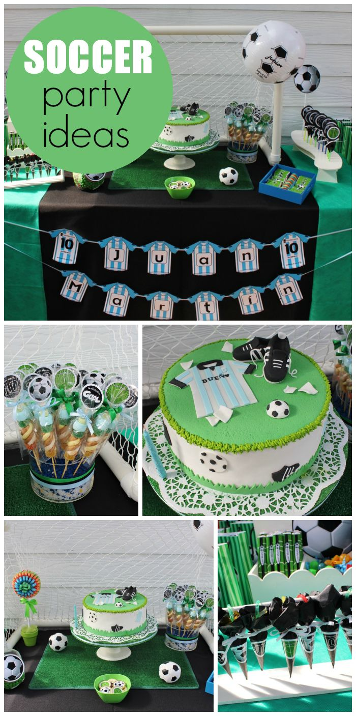 Check out this soccer party with a fun backdrop, decorations and cake!  See more party ideas at CatchMyParty.com!