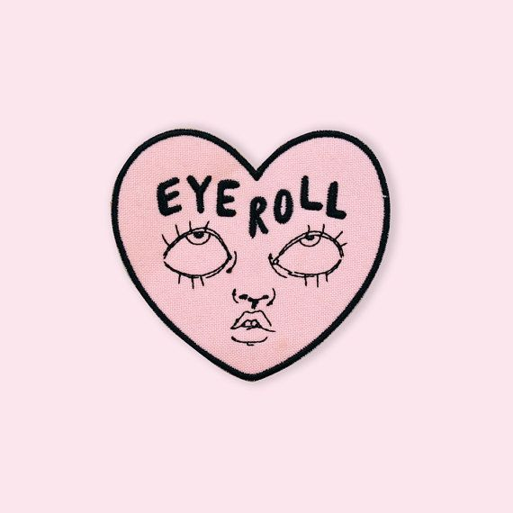 Eyeroll iron-on embroidered patch by ambivalentlyyours on Etsy