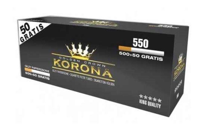 Tuburi tigari Korona 550 filtru alb  Pretul este pentru 1 cutie cu 550 tuburi pentru tigari Korona 550 filtru alb.  Ambalaj:            550 tuburi tigari/cutie  Culoare filtru:     alb  Lungime filtru:    15 mm  Lungime totala:   84 mm  Diametru:            8  mm