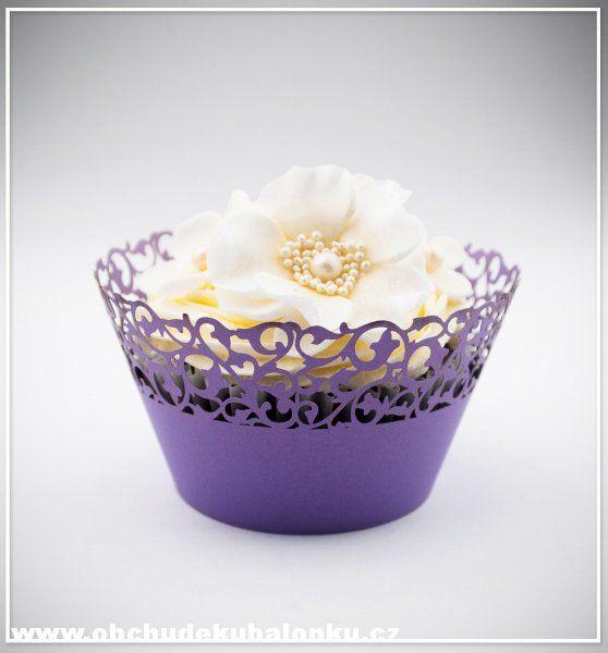 Papír. krajkové košíčky - obaly na cupcakes fialové