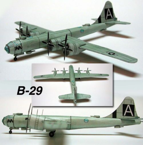 This aircraft paper model is a Boeing B-29 Superfortress, a four-engine propeller-driven heavy bomber designed by Boeing flown primarily by the United Stat