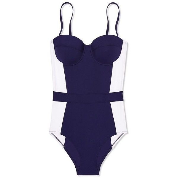 Tory Burch Lipsi One-Piece found on Polyvore featuring swimwear, one-piece swimsuits, swimsuits, navy blue, one piece swim suit, 1 piece swimsuit, shelf bra, navy one piece swimsuit and navy blue bathing suit