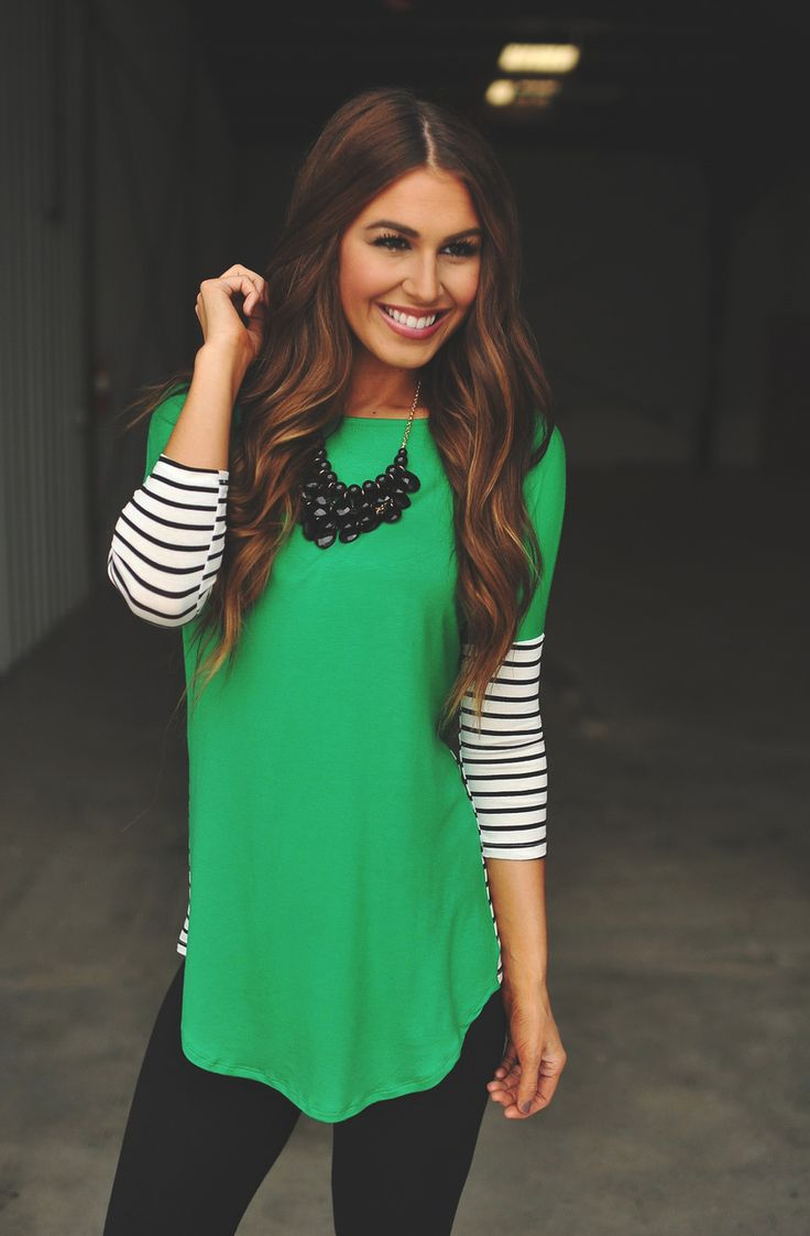 Dottie Couture Boutique - Green Tunic- Striped Sleeves, $36.00 (http://www.dottiecouture.com/green-tunic-striped-sleeves/)