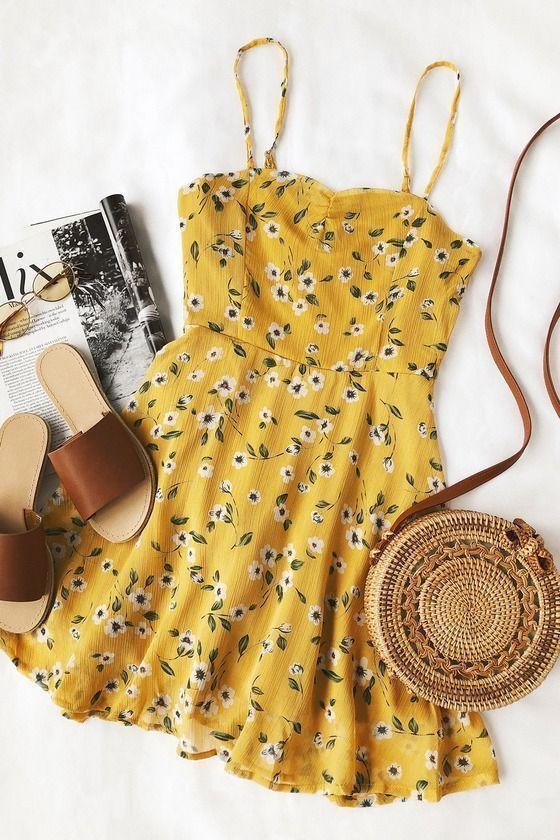 Gänseblümchen gehen durch Senf gelb Blumendruck Kleid – kleider