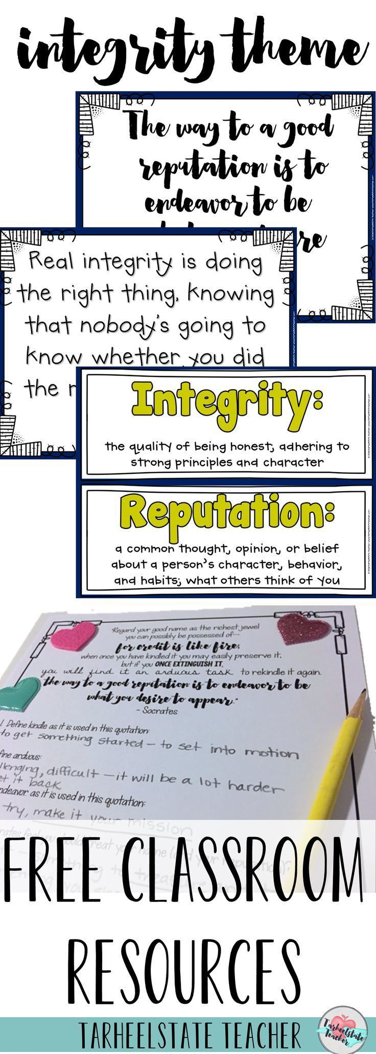 "Click for Free morning meeting or themes in literature activities and lesson ideas for teaching your students about integrity, honesty, and protecting their reputation through quotes, quotations, read alouds/picture books, and journal pages/prompts. This is character education at it's best through reading, discussing, self reflection, and quotation analysis. ""The way to a good reputation is to endeavor to be what we desire to appear."""