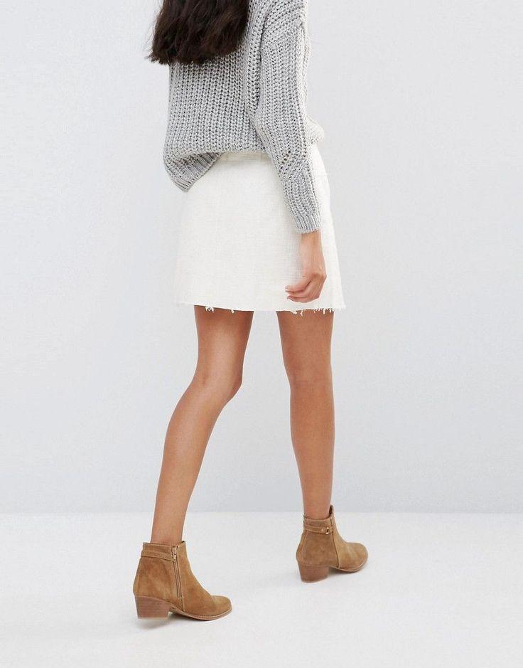 Pepe Jeans Solace Denim Wrap Mini Skirt - White