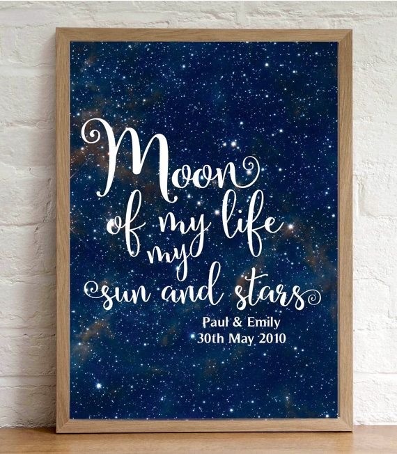 Our Moon of My Life My Sun and Stars Personalised Game of Thrones Quote Print will make a fantastic gift for all Game of Thrones fans. This will