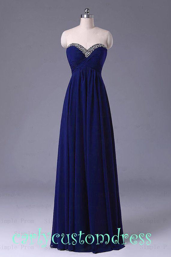Long Blue Prom Dress/Long Beaded Bridesmaid by CarlyCustomDress, $89.99