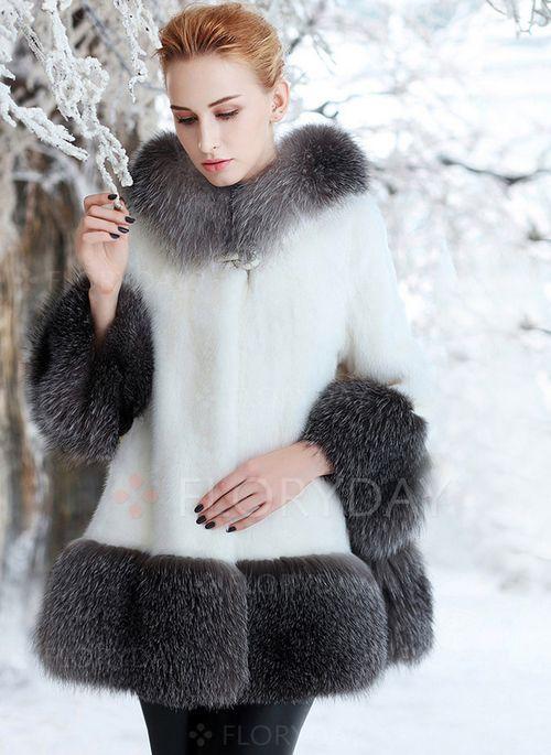 Пальто & куртки - $93.16 - Длинное пальто Искусственный мех с длинными рукавами (1715118387)
