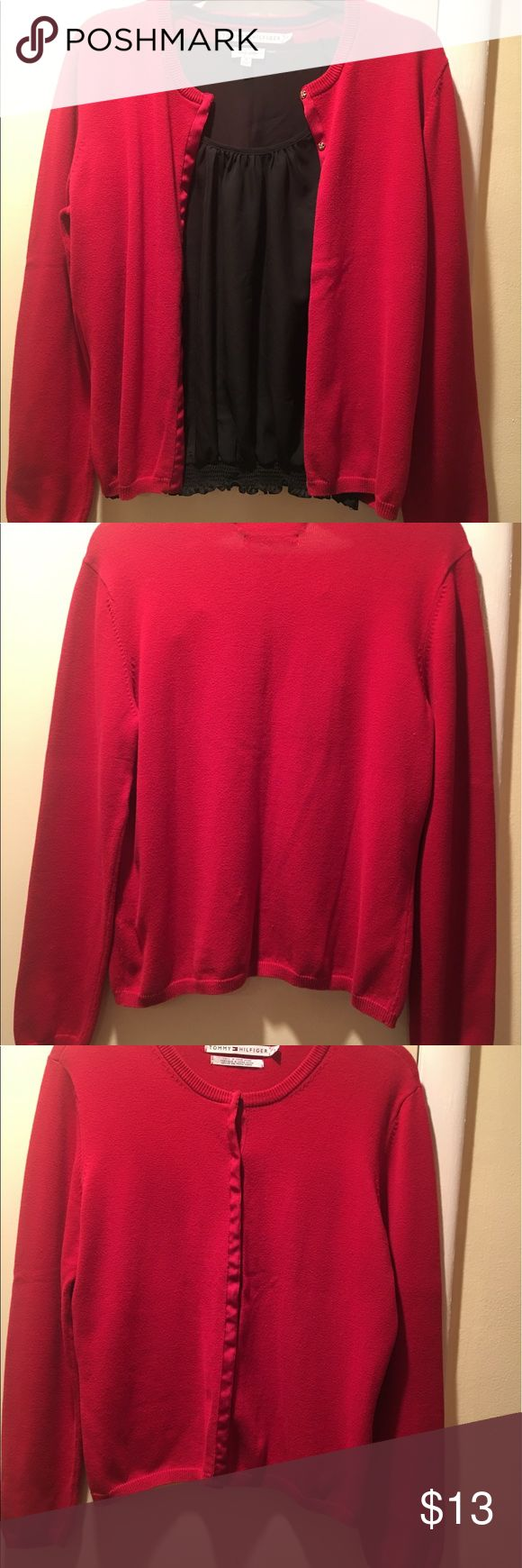 Cardigan tops Red cardigan  sweater, 87% cotton, 11% nylon and 2% spandex. Tommy Hilfiger Sweaters Cardigans