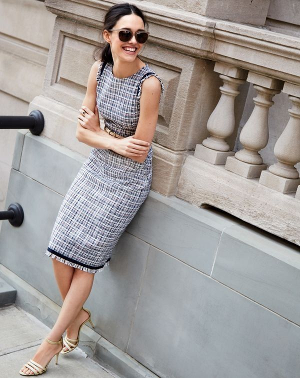 We heard you love our J.Crew tweed so much, you want to wear it year-round. So we made this colorful lightweight version and used it for a dress, a pencil skirt and a jacket.