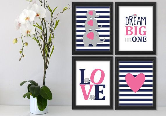 4 Dream big little one Elephant Navy Blue Pink Grey by Suselis