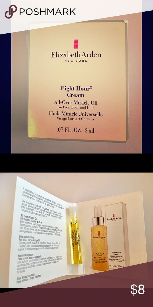 New Elizabeth Arden 8 hr Cream Miracle Oil Sample New Elizabeth Arden 8 hr cream also known as the Miracle Oil - sample size in card.  Little goes a long way with this product.  Combine items to save!  I'm happy to accept reasonable offers!  Thanks for looking! Elizabeth Arden Makeup Face Primer