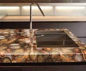 Precious stone backlit counter, agate stones