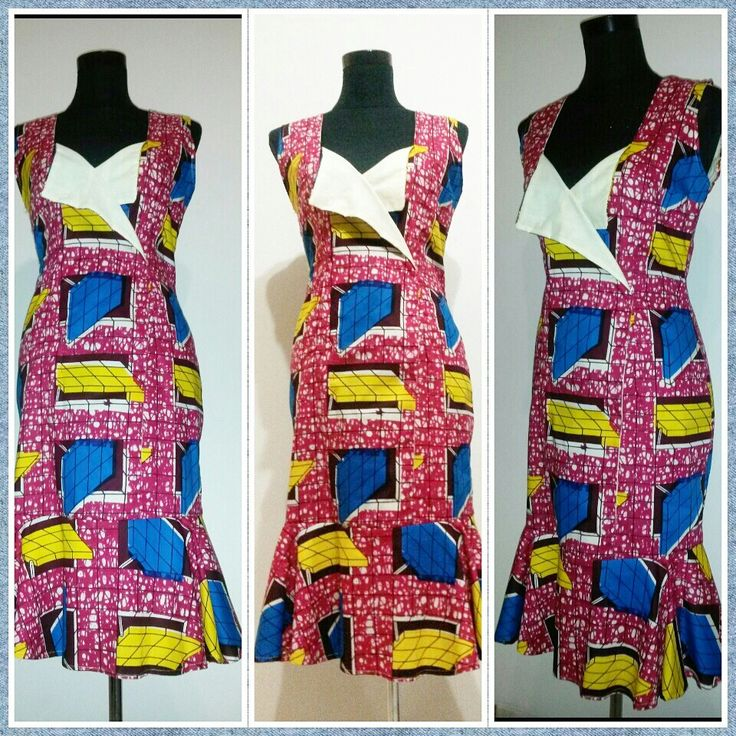 Double-breasted detail on geometric AfricanPrint dress.Midi length in bright summery colours.
