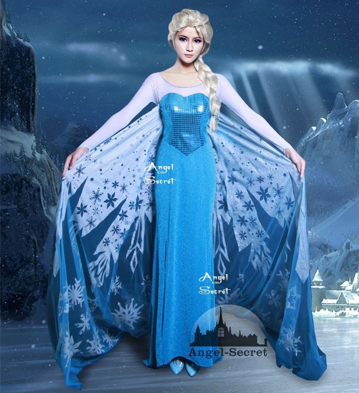 J698 Movies Frozen Snow Queen Elsa Cosplay Costume Dress Tailor Handmade
