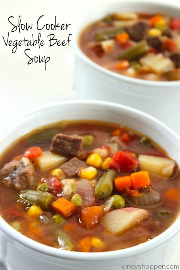 You will find this Slow Cooker Vegetable Beef Soup loaded with lots of vegetables, beef, and tons of flavor! You can toss all your ingredients in the Crock-