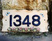 House number plaque, ceramic door numbers, door numbers. - pinned by pin4etsy.com