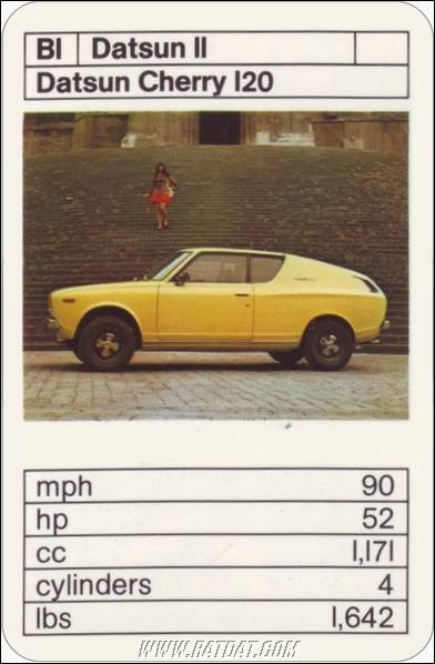 """Top Trumps: Japanese Cars - The brilliant Datsun Cherry 120 - with awsome """"fastback"""" styling!"""