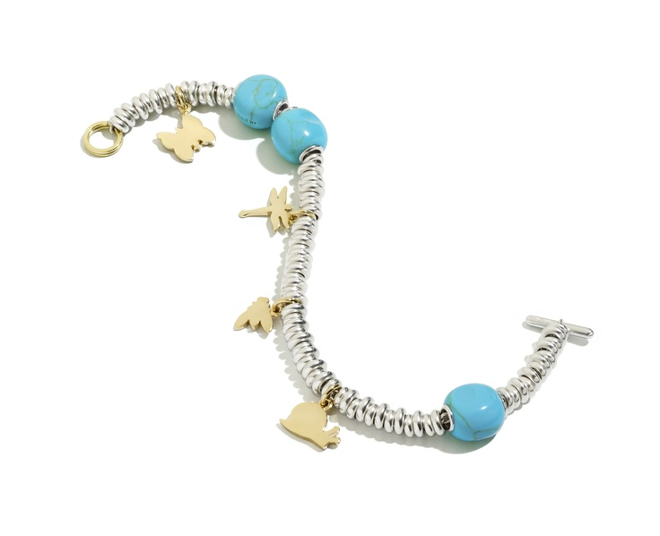 Dodo bracelet with the butterfly, dragonfly, fly and snail yellow gold charms. The new turquoise pepita adds a nice touch of color and is perfect for summer!