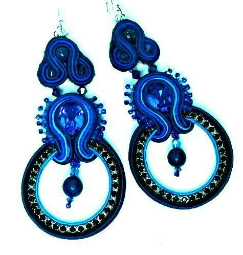 Biondi's blue soutache earrings