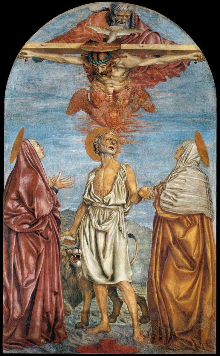 Andrea del Castagno - La Trinità e santi (Apparizione della Trinità ai santi Girolamo, Paola ed Eustochia) è un affresco (285x173 cm) di Andrea del Castagno, datato 1453-1454 e conservato nella basilica della Santissima Annunziata a Firenze. Della parte inferiore dell'affresco si conserva anche la sinopia, esposta nel Museo del Cenacolo di Sant'Apollonia sempre a Firenze
