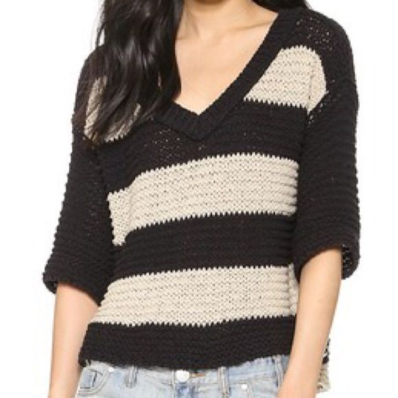 Free People Stripe Park Slope Pullover size XS This is a brand new with tags Free People Stripe Park Slope Pullover. It is a size extra small and the color is called black/hemp. Feel free to ask questions! This item can be listed on mercri at a reduced rate. Just ask! Free People Sweaters