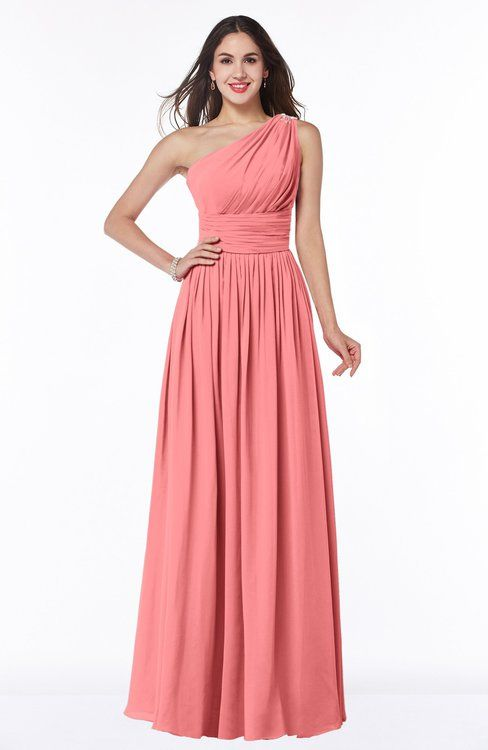 7612b20bb0a Coral Modern A-line Asymmetric Neckline Sleeveless Half Backless Chiffon  Plus Size Bridesmaid Dresses