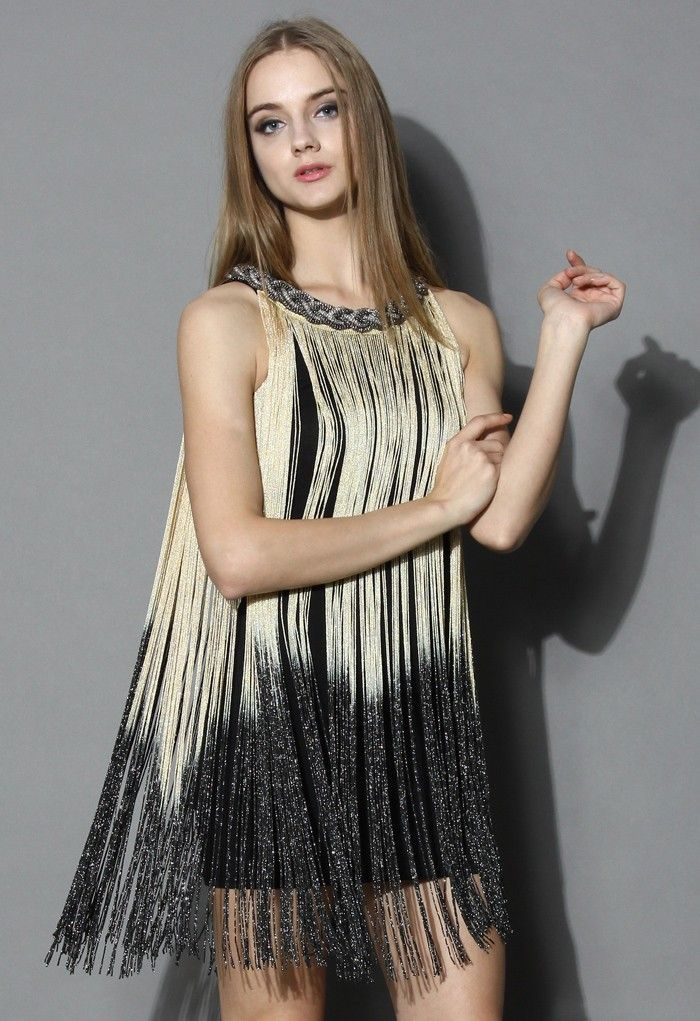 Swinging Ombre Tassel Dress in Gold - Party - Dress - Retro, Indie and Unique Fashion