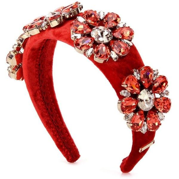 Dolce & Gabbana Embellished Velvet Headband (€1.095) ❤ liked on Polyvore featuring accessories, hair accessories, hats/hair accessorie, red, red hair accessories, head wrap hair accessories, embellished headbands, velvet headband and hair bands accessories