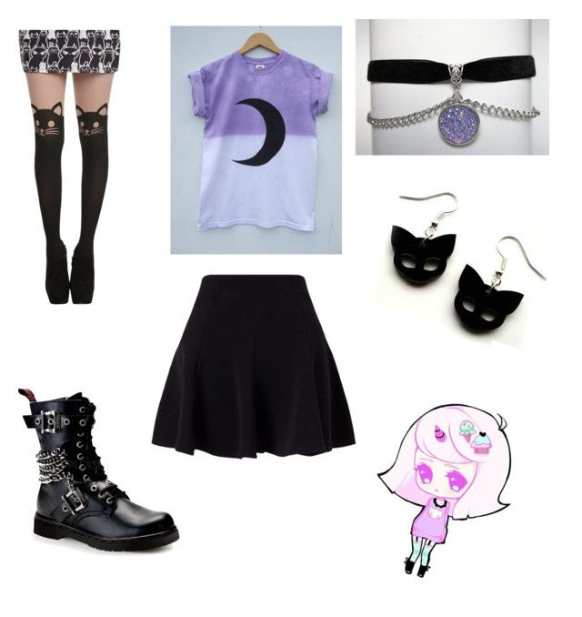 """Pastel goth"" by juliaakinkuoye ❤ liked on Polyvore featuring Miss Selfridge and Demonia"